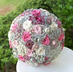 Pink Wedding Brooch Bouquet. Deposit on made to by annasinclair, $75.00