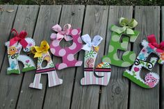 HAPPI DAY  Handpainted Letter (set) M2M Dena Happi Tree Bedding and Decor. $16.99, via Etsy.