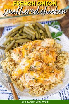 French Onion Chicken, French Onion Dip, French Fried Onions, Italian Chicken, Plain Chicken Recipe, Chicken Tender Recipes, Baked Chicken, Grilled Chicken, Cola Chicken