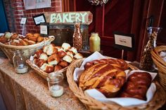 Farmers Market Wedding: food stations for bakery, meat and produce!