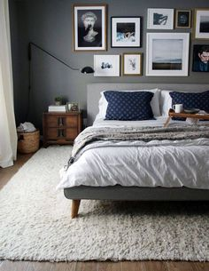 cozy gray textiles and a peaceful gallery wall