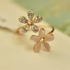Encanto de la margarita flor Crystal Rhinestone mujeres anillo anillos de apertura ajustable para para Anel joyería