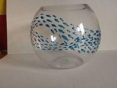 Handpainted glass fish bowl.
