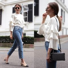 Livia Auer - Chicwish Ruffled Knit, Miss Selfridge Mom Jeans, Ray Ban Round Metal Sunglasses, Chanel Slingback Pumps - Frilled Knit, Mom Jeans & Chanel Pumps