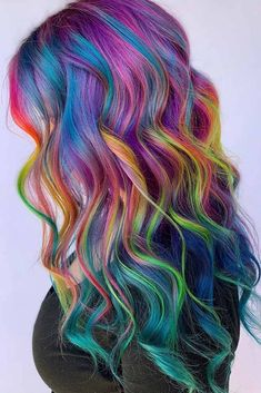 Bright Highlighted Rainbow Hair ❤ Try rainbow hair that is rich, dark, fantastic, and mysterious. Luckily for you, there are loads of color ideas for brunettes with no bleach required! Pulp Riot Hair Color, Vivid Hair Color, Pretty Hair Color, Hair Dye Colors, Hair Color For Black Hair, Wild Hair Colors, Rainbow Hair Colors, Neon Rainbow, Pelo Multicolor