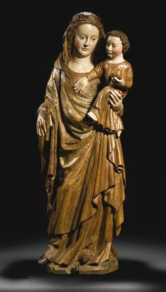 ♔  FRENCH, LORRAINE, POSSIBLY METZ, MID-14TH CENTURY VIRGIN AND CHILD GILT AND POLYCHROMED WALNUT   https://www.pinterest.com/moonshooter1
