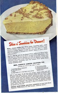 Knox's Lemon Chiffon Pie ~~Chronically Vintage: This Lemon Chiffon Pie recipe is the perfect springtime dessert Cookbook Recipes, Pie Recipes, Dessert Recipes, Cooking Recipes, Easy Recipes, Retro Recipes, Vintage Recipes, Lemon Chiffon Pie, Vintage Baking