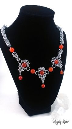 Carnelian Romanov and Byzantine #Chainmaille #Necklace