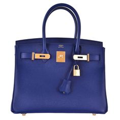 21k Hermes Birkin Bag 30cm Blue Sapphire with Gold Hardware Epsom JaneFinds | From a collection of rare vintage top handle bags at https://www.1stdibs.com/fashion/handbags-purses-bags/top-handle-bags/