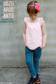 Sewing Like Mad:  Kudzu Cargo Pants by willow & co + Charming Doodle