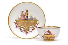 Koppchen and saucer with landing-Chinese,