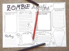 zombie apocalypse bujo journal party halloween survival zombies invasion list checklist planner printable journal download lasoffittadiste