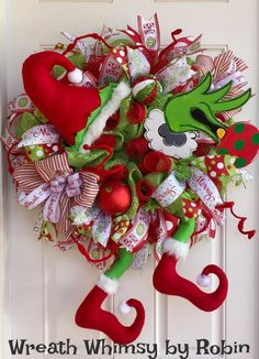 Grinch Christmas Deco Mesh Wreath in Lime Green & Red, Holiday Wreath, Christmas Decor, Grinch Decor, Front Door Wreath by WreathWhimsybyRobin on Etsy Grinch In Christmas Tree, Christmas Door, Christmas 2017, Christmas Holidays, Christmas Music, Outdoor Christmas, Le Grinch, Grinch Party, Grinch Christmas Decorations