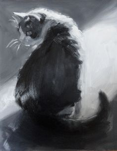 """Whiskers. A monochrome sketch of my cat, Molly.  Oil on panel.  10 x 8"""" $195 http://elizabethjose.net/storefront.php"""