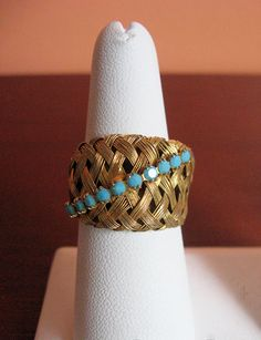 Vintage Woven Cocktail Ring Goldtone and by InsomniaVintage, $35.00