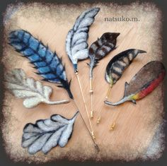 gorgeous – felted feather hat pins