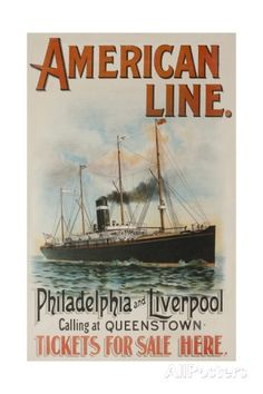 American Line Philadelphia and Liverpool Cruise Line Travel Poster Giclee Print - AllPosters.co.uk