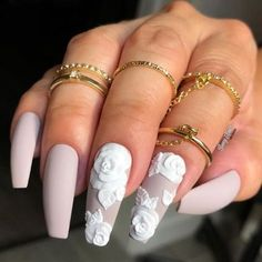 """The most stunning wedding nail art designs for a real """"wow"""" 100 Wedding Nail Designs for Brides, bridal nails nails bride,wedding nails with glitter, nails for wedding guest Bride Nails, Prom Nails, Long Nails, My Nails, Glitter Nails, Matte Nails, Gorgeous Nails, Pretty Nails, Wedding Nails Design"""