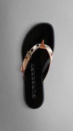Burberry Haymarket Check Flip Flops in Tan