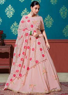 #peach #sequins #embellished #georgette #lehenga #choli #designs # traditional #indian #outfits #gorgeous #wedding #look #ootd #new #arrival #womenswear #online #shopping Choli Designs, Lehenga Designs, Pink Lehenga, Lehenga Choli, Salwar Kameez, Kurti, Party Wear Lehenga, Fancy Party, Peach Colors