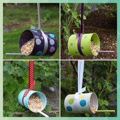Diy bird feeders from tin cans diy's blechdosen, vogelfutterhaus, futt Tin Can Crafts, Bird Crafts, Garden Crafts, Recycled Crafts, Garden Projects, Diy And Crafts, Crafts For Kids, Recycled Clothing, Recycled Fashion
