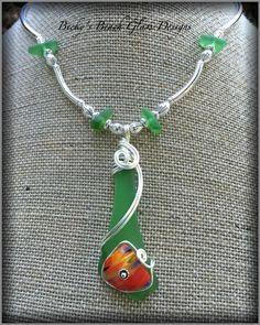 Kelly Green Sea Glass Skinny Necklace W/English Art Glass Shard, $42.00
