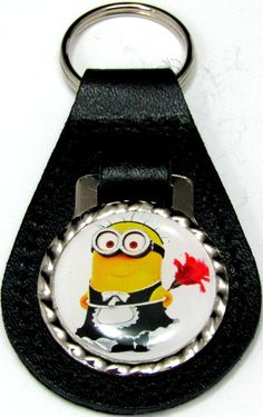 Minions Phil Maid Black Genuine Leather Key Fob With Steel Ring FOB-0255