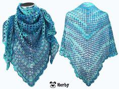Das #Dreieckstuch, #Schultertuch mit #Lochmuster aus #Baumwolle ist leicht zu #Häkeln und sieht toll aus!