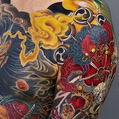 Japanese half-sleeve and bodysuit tattoo by - Thomas Ludwig Japanese Tattoo Meanings, Japanese Tattoo Art, Japanese Tattoo Designs, Japanese Sleeve Tattoos, Irezumi, Japanese Tiger Art, Raijin Tattoo, Tattoo Japonais, Fire Tattoo