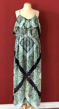 LILY STAR Green Multi Medallion Print Cold Shoulder Maxi Dress Size 2X NWT PLUS #LilyStar #Maxi #Casual