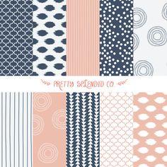 Marine & rose - motifs sans soudure - Pack de papier Scrapbook Digital - téléchargement immédiat