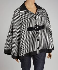 A MUST HAVE!!!  FREAKING A-D-O-R-A-B-L-E! A Little Sherlock! <3 it!    Black Houndstooth Belted Cape - Plus