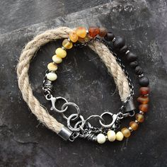 Two bracelets raw amber & natural linen oxidized by 626elements