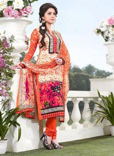 Designer Cotton Salwar Kameez In Orange . Shop at - http://www.gravity-fashion.com/women/salwar-kameez/summer-collection/designer-cotton-salwar-kameez-in-orange.html