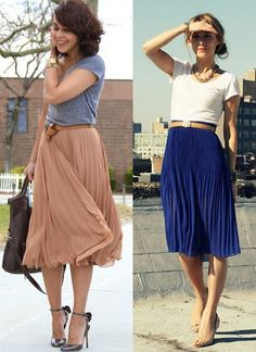 long pleated skirt & t shirt.