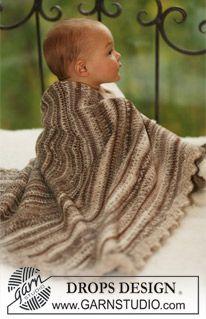 "DROPS blanket in 2 threads ""Fabel"" with crochet borders in ""Eskimo"". ~ DROPS Design"