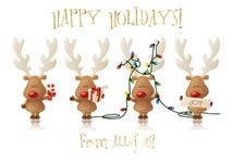 These playful and cheerful reindeer wish your clients a Happy Holiday!