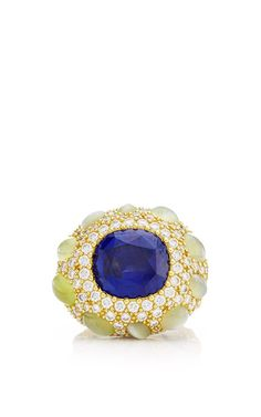 One Of A Kind Sapphire, Cats Eye Chrysoberyl, And Diamond Ring by Nicholas Varney for Preorder on Moda Operandi