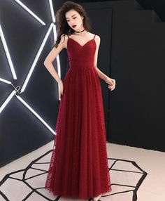Burgundy sweetheart tulle long prom dress burgundy formal dress Modest Homecoming Dresses, Tulle Bridesmaid Dress, Gala Dresses, Prom Dresses Blue, Modest Dresses, Cute Dresses, Fall Formal Dresses, Burgundy Formal Dress, Grey Evening Dresses