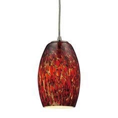 10220/1EMB-LED | Maui 1 Light LED Pendant In Satin Nickel And Ember Glass - 10220/1EMB-LED