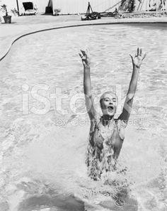 Woman having fun in swimming pool royalty-free stock photo