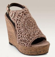 Elizabeth and James Macramé Wedge Sandals Crochet Sandals, Crochet Shoes, Crochet Slippers, Love Crochet, Slingback Sandal, Wedge Sandals, Bags Online Shopping, Elizabeth And James, Huaraches
