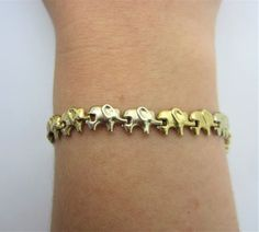 Two tone Gold Elephant Bracelet, Yellow Gold and White Gold 14k Bracelet, Elephant Bracelet, Little Elephant, Cute Bracelets, Elephants, Authenticity, Forget, White Gold, Gift Wrapping
