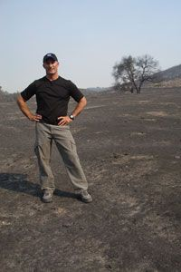 Jim Cantore on a charred landscape after the San Diego fires of 2007. (Photo courtesy: weather.com's Kerrie Levick) Weather News, Weather Forecast, Jim Cantore, Weather Center, America's Finest, Salton Sea, The Weather Channel, Man Candy, Geeks