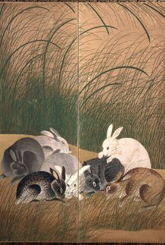 Detail. Rabbits and autumn grasses, a 6-fold screen painting. The screen is unsigned but the faultless overall design of the painting and the shading of the rabbits' bodies suggest that it was painted by an artist of the Rimpa school working in the mid-eighteenth century, the generation after Ogata Kōrin (1658-1716).