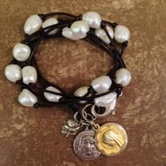 Inspired by southern vintage glam, Love, Nina Jane pieces are hand crafted from the finest leather, fresh water pearls, and vintage medallions.  Made in Helena  http://www.handworkshelena.com/product/love-nina-jane-5-wrap-bracelet/