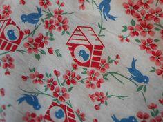 Vintage Feed Sack Uncut Bluebirds Birdhouses | eBay