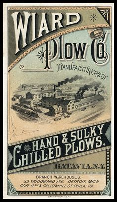 Wiard Plow Company | Sheaff : ephemera Vintage Labels, Vintage Ephemera, Vintage Ads, Vintage Prints, Vintage Posters, Graphics Vintage, Vintage Graphic Design, Vintage Type, Typography Inspiration