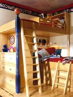 Built-in corner bunk beds make the most of the small space shared by our two boys. While sports are not our thing we love the warm wood tones and the clean lines as well as the play area left for the boys.