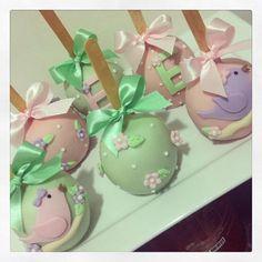 Maçãs decoradas #macasdecoradas #macasdechocolate #macas #passarinhos #jardim #festapassarinho #festajardim #chocolate